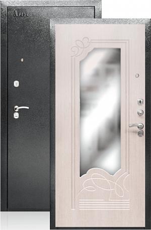 Входная дверь ДА-8 беленый дуб с зеркалом