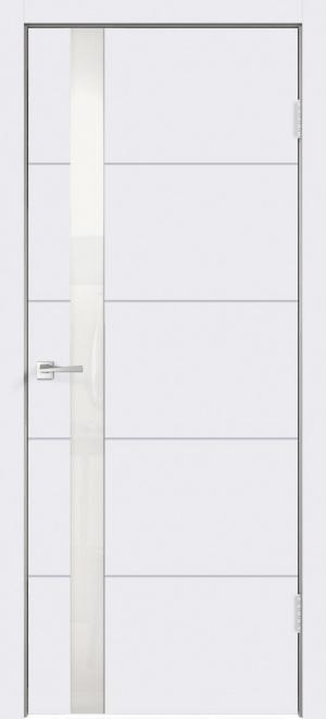 Дверь Сканди F Z1 эмаль белая ст.лакобель белое с зарезкой под замок Морелли WC