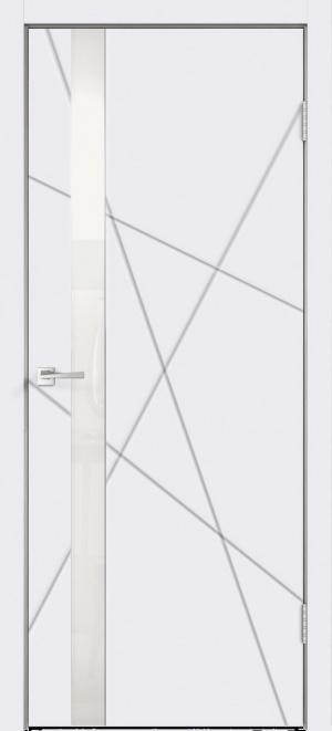 Дверь Сканди S Z1 глухая эмаль белая ст. белая лакобель с зарезкой под замок Морелли WC