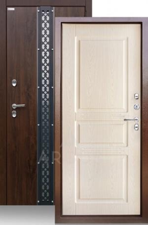 Входная уличная дверь с терморазрывом «ТЕПЛО-5» ПРОКСИМА (2П) МДФ дуб темный/дуб бел улица