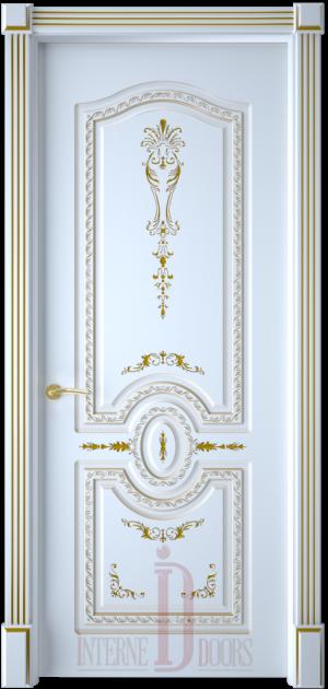 Дверь Диамант глухая эмаль патина золото