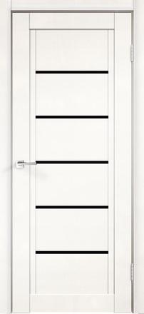 Дверь НЕКСТ 1 белый эмалит ст. лакобель черное