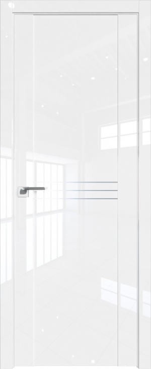 Дверь 150L белый люкс AL вставки