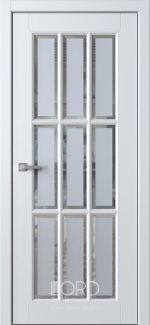 Дверь Белла 8 ст. сатинат белый с фацетом