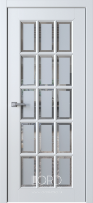 Дверь Белла 12 ст. сатинат белый с фацетом