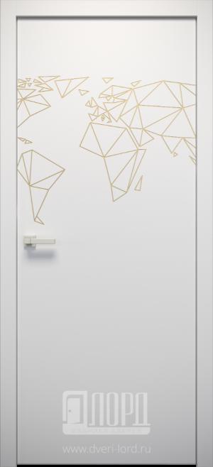Дверь L-ORI 1 глухая с фрезеровкой патина с 1 стороны