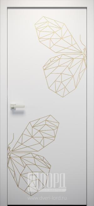 Дверь L-ORI 7 глухая с фрезеровкой патина с 1 стороны