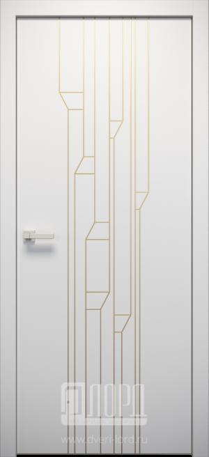 Дверь L-SPAZIO 4 глухая с фрезеровкой патина с 1 стороны