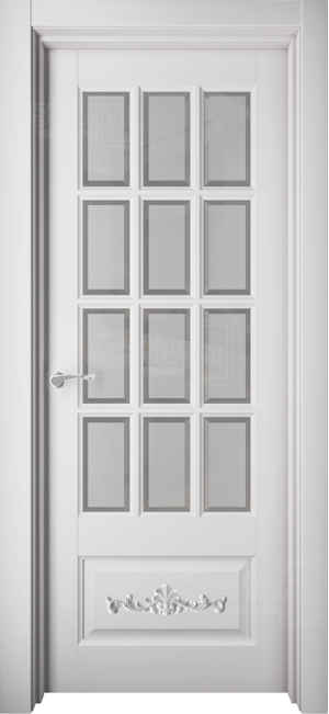 Дверь Элеганс 18 с лепниной ст. 1 белый сатинат с фацетом