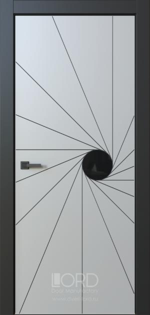 Дверь Eclissi 8 глухая ст. черная лакобель с фрезеровкой патина с 1 стороны