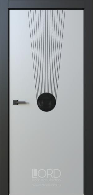 Дверь Eclissi 10 глухая ст. черная лакобель с фрезеровкой патина с 1 стороны