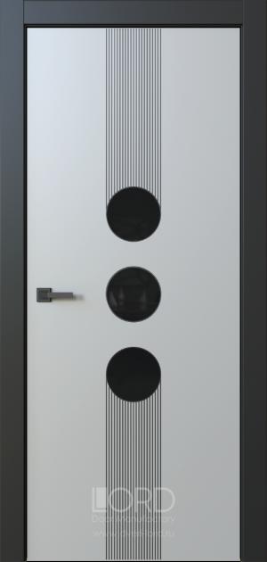 Дверь Eclissi 3 глухая ст. черная лакобель с фрезеровкой патина с 1 стороны