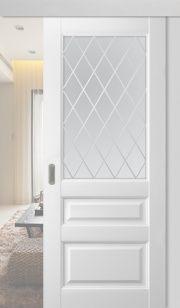 Дверь раздвижная Эрмитаж-2 Винил стекло Ромб