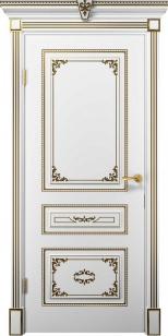 Дверь Эмилия ДГ эмаль белая патина золото