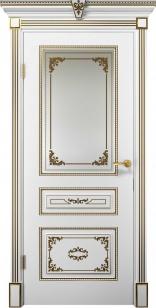 Дверь Эмилия ДО эмаль белая патина золото