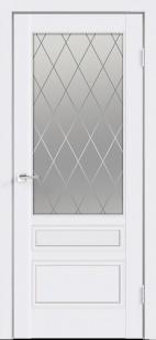Дверь Сканди 3V эмаль белая ст. матовое Ромб с зарезкой под замок Морелли WC