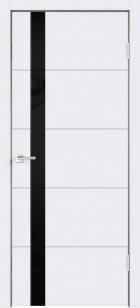 Дверь Сканди F Z1 эмаль белая ст.лакобель черное с зарезкой под замок Морелли WC
