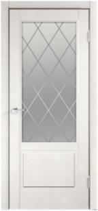 Дверь Сканди 2V эмаль белая ст. матовое Ромб с зарезкой под замок Морелли WC