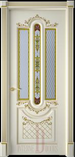 Дверь Александрия 2 эмаль стекло патина золото