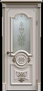 Дверь Каролина эмаль патина со стеклом