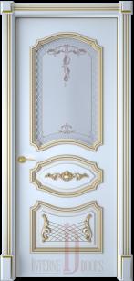 Дверь Багет 5/1 эмаль белая патина со стеклом
