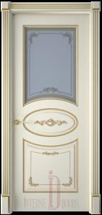 Дверь Амелия эмаль слоновая кость патина со стеклом