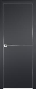 Дверь 12Е черный матовый алюмин. кромка с 4-х сторон, петли скрытые AGB Eclipse, зарезка под замок